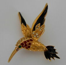 Vintage Humming Bird Brooch Pin Enamel Austrian Crystals by Sphinx 1980s 9997