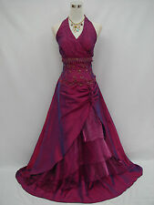 Cherlone Plus Size Purple Halterneck Ballgown Wedding Bridesmaid Dress 24-26