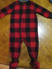 TODDLER FLANNEL PAJAMAS BLACK/RED w/FEET 18 months