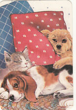 1 single vintage playing swap card - Cats Dogs - Dogs & Cat sleeping on pillows