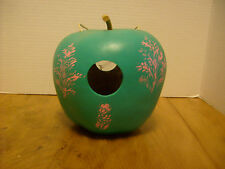 Handpainted Gourd Green Birdhouse FEEDER PINK Fern decals Folkart RB-4c