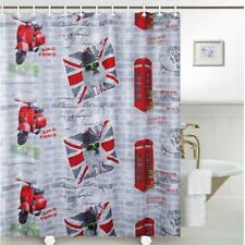 British Bulldog Union Jack Flag Red Telephone Box Bathroom Shower Curtain