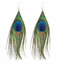 "Pair Peacock Feather Earrings 6""  Womens Girls Ladies Costume Jewellery Drop NEW"