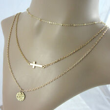Women's Fashion Multilayer Gold Plated Elegant Chain Sequined Cross Necklace