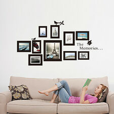 DIY Picture 10 Photo Frame Set Wall Black Sticker Vinyl Decal Decor Home Art