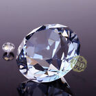 Blue Grey Crystal Diamond Shape Paperweight Glass Gem Display Ornament Gift 40mm