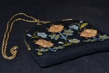 Vintage Needlepoint Purse Gold Clasp & Chain Floral Design                ND3257