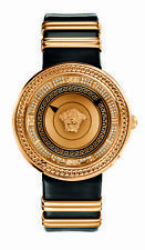 Versace Women's V-METAL ICON Watch VLC060014 Diamond Gold IP Black Leather