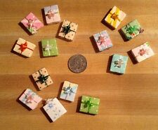 DOLL HOUSE MINIATURE WRAPPED PASTELS GIFT BOXES -- Receive Lot of 5 Boxes -- 3/4