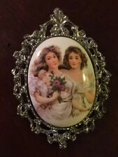 Antique Victorian Portrait Pendant Or Brooch With Sisters Or Best Friends