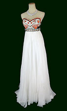 New Genuine JOVANI 7253 White Full-Length Bridal Prom Women Formal Gown Dress 2