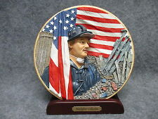 "Herco Gift 8"" Resin Plate Plaque 3D Firefighter 911 Commemorative w/ Stand NEW"