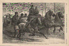 Central Park, NY, Horse Drawn Sleigh, Racing, Vintage 1875 Antique Art, Print