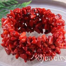 "Free Shipping Beads Stone Red Sea Coral Stretch Chip Weave Bracelet 7"" LH047"