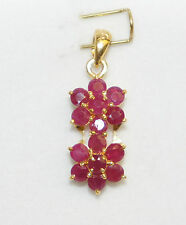 14k Solid Yellow Gold Cute Two Flowers Pendant with Natural Round Ruby.