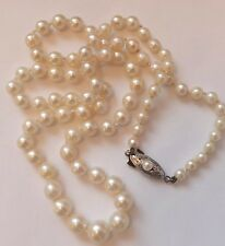 Antique Cultured Pearl Necklace Silver Clasp 20 inch Long Chain