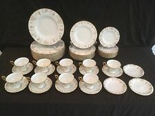 52 PIECE SET OF ROYAL CROWN DERBY CHINA IN THE VINE GOLD PATTERN DINNER PLATE