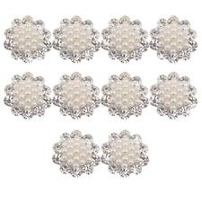 10 Crystal Faux Pearl Button DIY Brooches Bridal Wedding Bouquet Craft 20mm