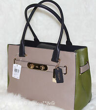 COACH 36514 Swagger Carryall Colorblock Leather Shoulder Bag Purse Stone $395