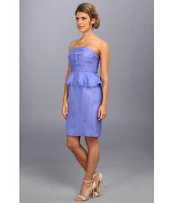 NWT Donna Morgan Gillian Silk Organza short peplum strapless dress Aster Blue 18