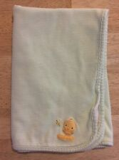 Carters Just One Year Sweet Baby Chick Blanket Green Stripes Dragonflies