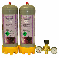 2 disposable Co2 220ltr gas bottles for MIG welding cylinder + 2 gauge regulator