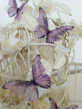 10 Sparkling 3D Lilac Butterflies Wedding Bird Cage Table Candle Accessories