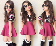 2PCS Kids Girls Floral T-Shirt Tops Pleated Skirt Princess Dress Clothes 3-4Y
