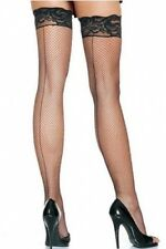 Black Hold Up Fishnet Back Seam Stockings Lace Silicone Strips
