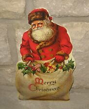 SANTA CLAUS Merry Christmas Sign w/Easel*Primitive/French Country Decor