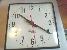 VINTAGE LATHAM TIME RECORDER CLOCK SCHOOL FACTORY 13 X 13  X 2 1/2  (SC80)