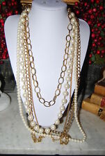 ANN TAYLOR LONG BOLD RUNWAY COUTURE GOLD TONED CHAINS AND FAUX PEARLS NECKLACE