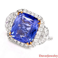 Certified Diamond 9.64ct Natural Blue Sapphire 18K Gold Ring 11.2 Grams NR