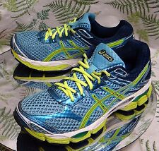 ASICS GEL CUMULUS 16 BLUE YELLOW SNEAKERS WALKING RUNNING SHOES US WOMENS SZ 8.5