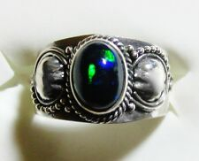 Black Ethiopian Welo Opal Ring in 925 Sterling Silver sz 6