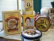Set of 5 Vintage Metal Tins (Candy, Cereal, Cookies, etc) Various Sizes & Ages