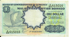 1959 Malaya and British Borneo $1 One Dollar P-8a VF