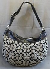 COACH Signature Soho Pleated Hobo Purse Black Grey Fabric Patent Leather F13741