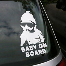 New Funny Cool Baby on Board Vinyl Car Sticker with Sunglasses Decal Sign Window