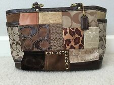 Coach Signature Patchwork Leopard Animal Leather Tote Satchel Purse F0873-F12843
