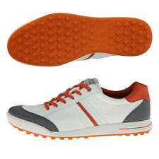ECCO MENS STREET RETRO GOLF SHOES WHITE/ORANGE  US10-10.5/EU44 HYBRID BIOM 16556