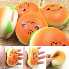 10CM Sesame Squishy Hamburger Phone Straps Bread Imitation Soft Bun Key Rings