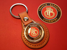 FRANCIS BARNETT, COVENTRY.  TAN LEATHER KEY RING & sticker