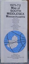 1971-72 Promotional Street Map of South Middlesex Massachusetts w/Local Ads
