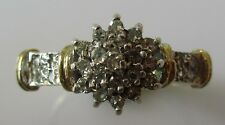 VINTAGE 9CT YELLOW GOLD DIAMOND 0.25CT ROUND CLUSTER RING SIZE O.