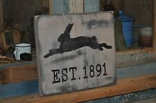 Old Look Primitive Hand Painted Rabbit Wooden Sign/Wall Hanging Chippy Paint
