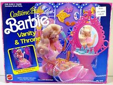 NIB BARBIE DOLL PLAYSET 1990 COSTUME BALL VANITY & AND THRONE