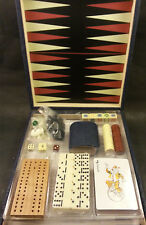 Suede Box 6-in-1 Game Set, Chess, Checkers, Backgammon, Cribbage, Dominos, Poker