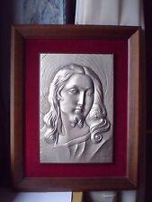 Tableau  de la tête de Jésus-Christ en étain,cadre en bois