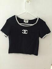 Chanel T-Shirt Vintage CC On Front CHANEL on Sleeves, Collar And Hem. Size Small